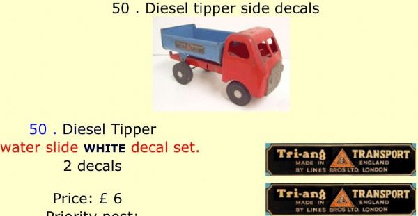 50 . Tri-ang Diesel tipper side decals